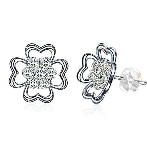 Earring ZHULERY Women's Four Leaf Clover Stud Earrings 925 Sterling Silver with Cubic Zirconia Flowers Clear Button Stud Earrings Best Gift for Her
