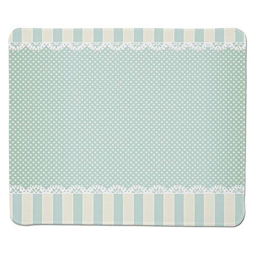 Mouse Pad Unique Custom Printed Mousepad [ Shabby Chic Decor,Traditional Old Fashioned Vertical Stripes Ornaments Dots Decorative,Almong Green Cream White ] Stitched Edge Non Slip (Traditional Chic Green)