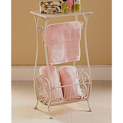 White Metal Bathroom Table Stand Toilet Paper Holder Bar Towel Magazine  Rack Shabby Chic Decor