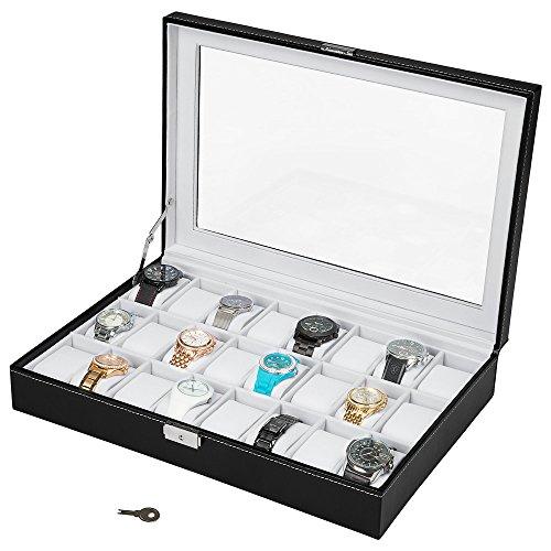 TecTake Uhrenbox Uhrenkasten für 24 Uhren Kunstleder - schwarz weiß -