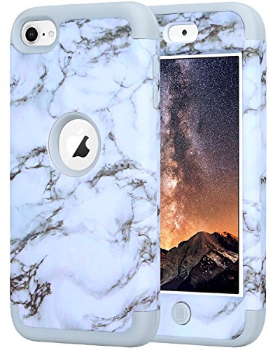 SAVYOU iTouch 5,Touch 6 Case, 3in1 Heavy Duty High Impact Armor Case Cover Protective Cover Case for Apple iPod Touch 5 6th Generation Marble White