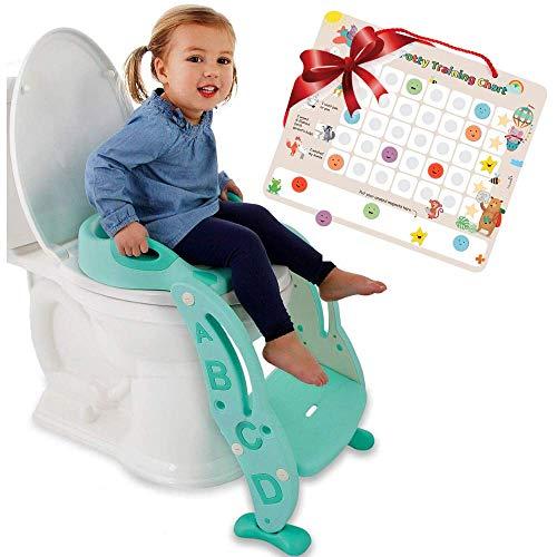 Potty Training Seat Unisex Kids &Toddler Toilet - Foldable Adjustable Ladder Anti-Slip Step w/Safety Handles - Fits Toilets 14-16.1 High. Bonuses: Soft Cushion Seat - Potty Training Chart