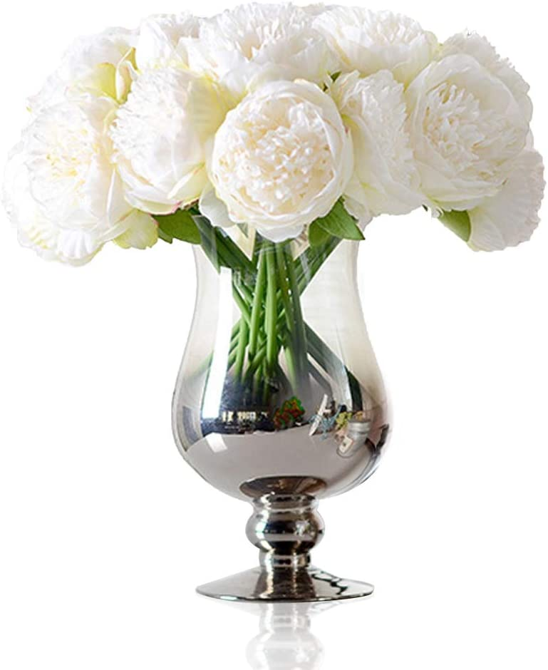 Felice Arts Silk Peony Bouquet 5 Heads Artificial Fake Flower Bunch Bouquet Bridal Bouquet Wedding Living Room Table Home Garden Decoration, Cream
