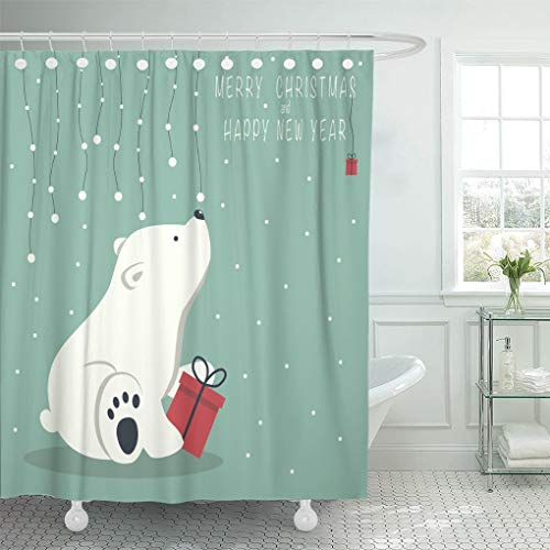 (Emvency Waterproof Fabric Shower Curtain Hooks The Depicts Seated Little Polar Bear Box Garland of Snow Balls Over and Phrase Merry Christmas 72