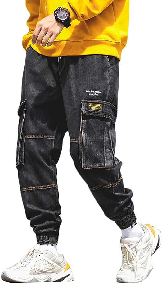 [YYQ-SHOP]ジョガーパンツ メンズ デニム ロングパンツ ゆったり ジーンズ ポケット付き カーゴパンツ カジュアル おしゃれ ジーパン ウェストゴム ストリート ズボン 大きいサイズ 秋