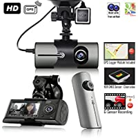 Indigi NEW 2017 XR300 BlackBox Car DVR Dash Cam + Dual Lens (Front Back)+ Motion Detect + GPS Module & Google Maps Route Tracking