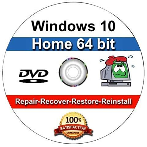Windows 10 Home 64-Bit Install | Boot | Recovery | Restore DVD Disc Disk Perfect for Install or Reinstall of (Disk To Clean Computer)