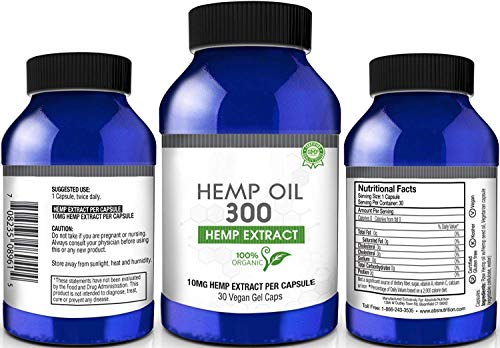 Hemp Oil Vegan Supplements for Pain Stress Relief, Anti Anxiety, Mood Support, Sleep Aid (300mg, 10mg per Capsule, 30 Count)