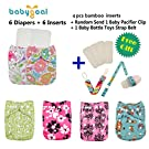 Babygoal Baby Reuseable Washable Pocket Cloth Diaper 6pcs+ 6 Inserts 6fg26