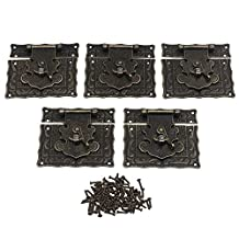 BQLZR 85x82mm Bronze Zinc Alloy Vintage Fashion Style Decorative Latch Lock Catch Hasp for Jewelry Box Wooden Box Wine Box Pack of 5