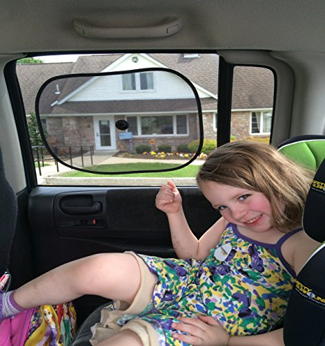 Five Star Car Rear Side Window Sun Shades - Protects Children & Babies Against Harmful UV Rays & Glare - Easily Attaches To Rear Seat Windows - 2 Pack - Fits Most Vehicles