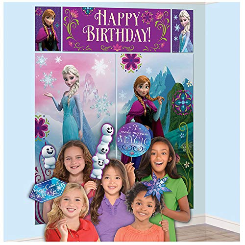 Party Birthday Scene - Disney Frozen Birthday Party Scene Setters Wall Decorating Kit (5 Pack), Multi Color, 59