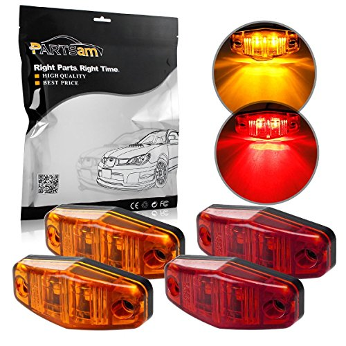 Partsam 4x LED Clearance Light Red/Amber Surface Mount Side Marker Assembly for Trailer Truck RV Universal (Led Side Clearance Light compare prices)