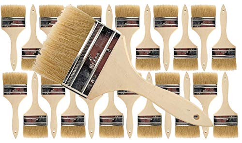 (24 Pack of Single X Thick Paint and Chip Paint Brushes for Paint, Stains, Varnishes, Glues, Acrylics and Gesso. (4