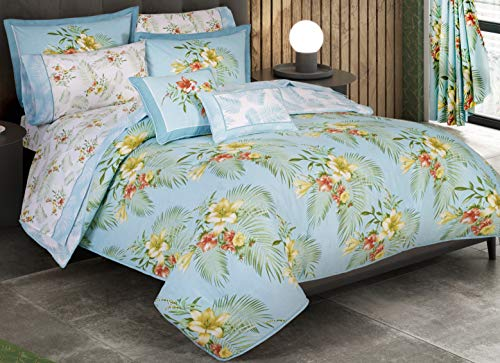 (Primor Casa Bahamas 7 Pieces Reversible Comforter Set - Bedding Cotton Rich - Light Green Tropical Floral Design - Includes 2 Free Pillows Bonus Pack (PRE101 King Oxford) (King Size))
