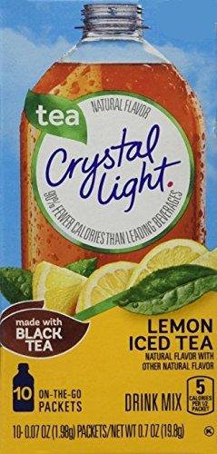 Crystal Light On The Go Natural Lemon Iced Tea,0.7 OZ, 10-Packet Box (0.07 OZ)(Pack of 12)