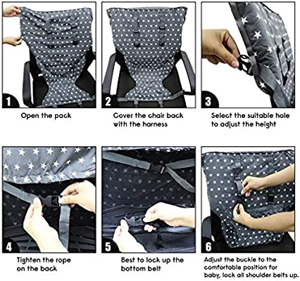 Portable Baby High Chair Safety Seat Harness for Toddler Travel Easy High Booster Seat Cover for Infant Eating Feeding Camping with Adjustable Straps Shoulder Belt,Holds Up to 38lbs.