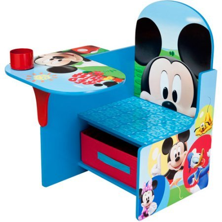 Disney Mickey Mouse Kids Activity and Study Desk Chair with Fabric Storage/Organizer Bin (Mickey Mouse Chair And Ottoman)