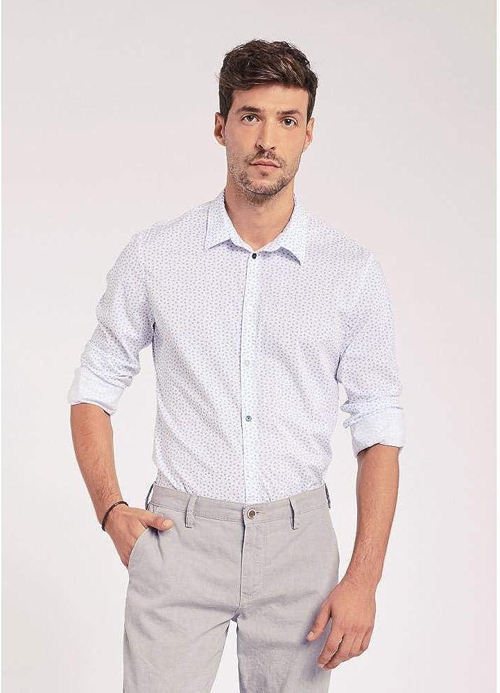 Gaudi 011BU45016 016058-01 Hombre Camisa Bianco, Celeste CF6585: Amazon.es: Ropa y accesorios