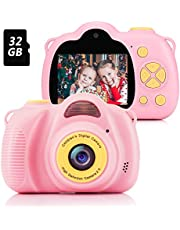 Fede Kids Digital Camera with 32GB TF Card, Rechargeable Selfie Camera, Digital Child Camcorder with 2.0 inches Screen, HD 8MP/1080P Dual Lens, Birthday Gifts for 3-12 Years Old Girls