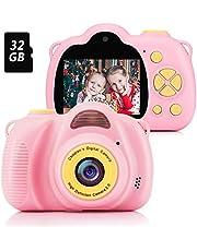 Fede Macchina Fotografica per Bambini con 32GB Carta TF Inclusa,Fotocamera Videocamera Digitale Portatile Obiettivo Doppio con Funzione Selfie,2.0 Pollici LCD,HD 8 MP/1080P per Bambine da 3 a 12 Anni