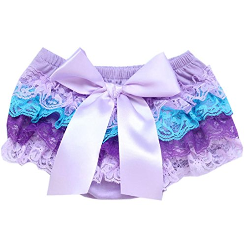FEITONG Toddler Baby Infant Girl Bow Lace PP Shorts Ruffle Bloomer Nappy Underwear Panty Diaper Cover