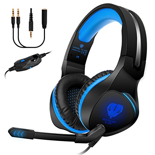 Anksono Stereo Gaming Headset for PS4, Xbox One, Nintendo Switch, 3.5mm Wired Bass Noise Cancelling Over-Ear Headphones with Mic, LED Lights and Volume Control for Laptop PC Mac iPad Games, BLUE by Anksono
