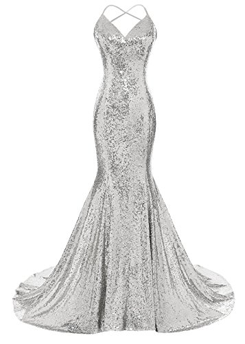 DYS Women's Sequins Mermaid Prom Dress Spaghetti Straps V Neck Backless Gowns Silver US 10