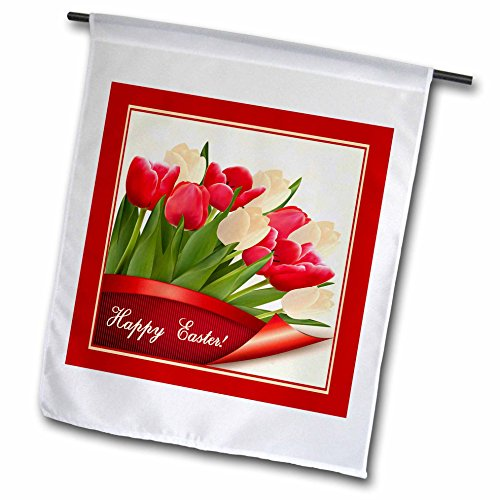 3dRose fl_174066_1 Red and Cream Tulips, Happy Easter Garden Flag, 12 by (Photo Garden Flag)
