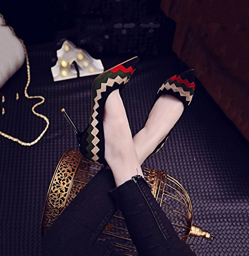 Fashion Female Shallow Mouth Pointed-Toe High Heels Elegant Sexy Suede Shoes Black 9cm Wedding Shoes (Color : Black, Size : 37)