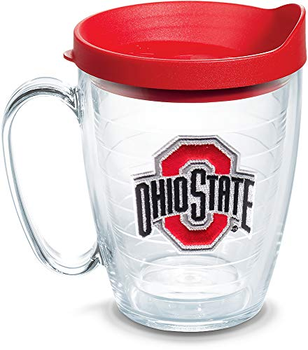 (Tervis 1056782 Ohio State Buckeyes Logo Tumbler with Emblem and Red Lid 16oz Mug, Clear)