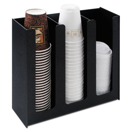 Vertiflex Products - Vertiflex - Cup Holder, 12-3/4w x 4-1/2d x 11-3/4d, Black - Sold As 1 Each - Commercial-grade construction will not crack, fade or chip. - Provides easy access to cups and lids. - Three 12