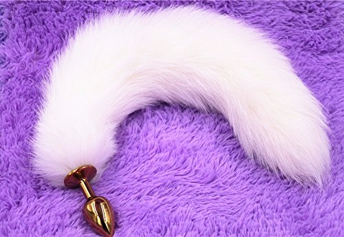 White Fox Tail Butt Anal plug 35cm long Real Fox tails Golden Metal Anal Sex Toy 2.8*7.5cm