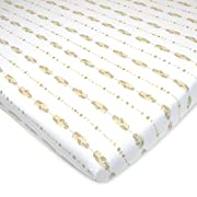 American Baby Company Printed 100% Cotton Jersey Knit Fitted Portable/Mini-Crib Sheet, Taupe Feathers