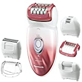 Emjoi Braun Epilator - Panasonic ES-ED90-P Wet/Dry Epilator and Shaver, with Six Attachments including Pedicure Buffer for Foot Care