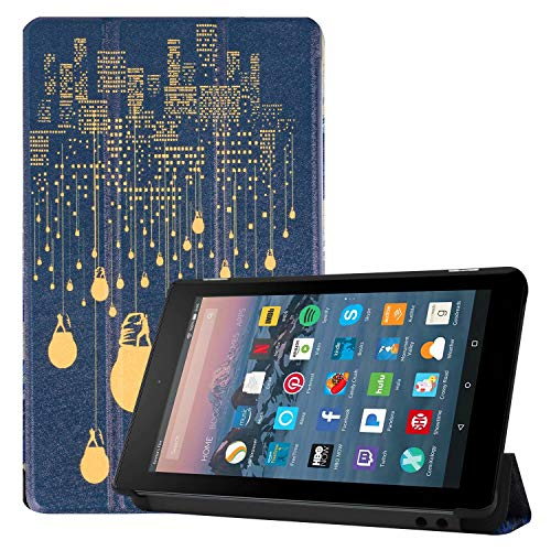 Maomi for Amazon Fire 7 inch case 2019/2017 Release - PU Leather Smart Cover with Auto Wake/Sleep for Kindle Fire 7 Tablet 9th/7th Generation (City Night)