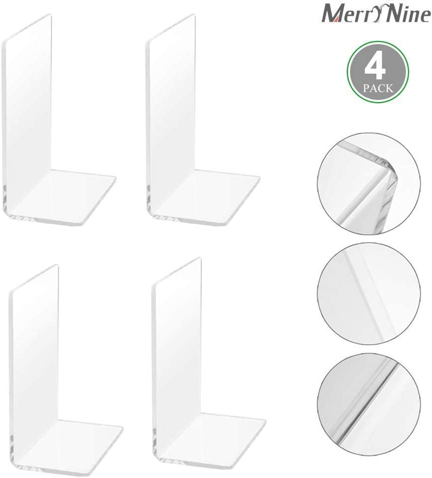 MerryNine Plastic Acrylic Bookends Pair Organizer Bookshelf Decor Decorative Bedroom Library Office School Supplies Stationery Gift (Plastic Acrylic_2 Pairs)