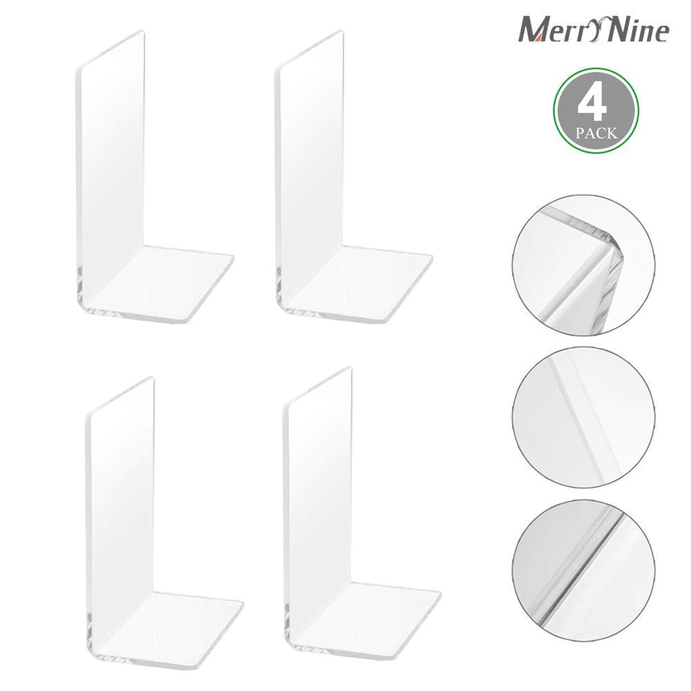 MerryNine Plastic Acrylic Bookends Pair Organizer Bookshelf Decor Decorative Bedroom Library Office School Supplies Stationery Gift (Plastic Acrylic_2 Pairs) by MerryNine