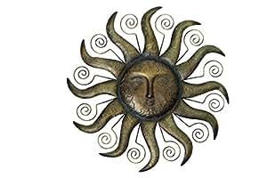 Forma de metal pared de sol, Oro, 68,5x 3,5x 68,5cm, 590265