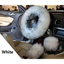YGMONER Fluffy Plush Car Steering Wheel, Shift Knob, Hand Brake Cover Kit Vehicle Winter Warm Accessories (White)