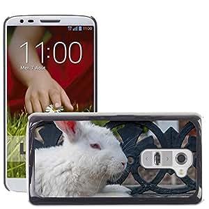 Hot Style Cell Phone PC Hard Case Cover // M00117216 Rabbit White Resting Mammal Pet // LG G2 D800 D802 D802TA D803 VS980 LS980