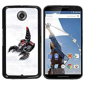 QCASE / Motorola NEXUS 6 / X / Moto X Pro / tecnología escorpión arte robot futuro del juego / Delgado Negro Plástico caso cubierta Shell Armor Funda Case Cover