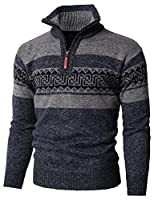 H2H Mens Casual Slim Fit Pullover Sweaters Mock Neck Zip up Various Patterned