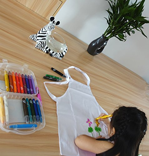 2 Pc-White kids'chef apron and hat set for cooking,baking,painting or decorating party (1-3Years) by MULAN (Image #7)