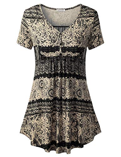 BAISHENGGT Tunic Tops for Legging for Women, Women's Short Sleeve V Neck Front Pleated Flared Comfy Loose Tunic Top Black Floral #2 2XL