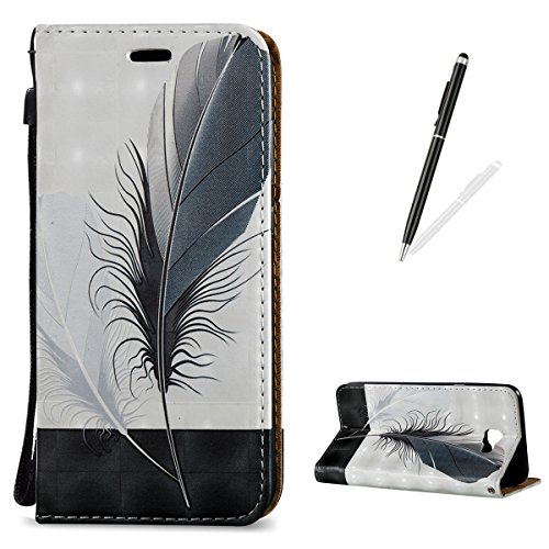 KaseHome 3D Patrón Efecto Samsung Galaxy J5 Prime Wallet Funda,Negro y Blanco Carcasa en Libro PU Leather Cuero Suave Impresión Piel Caso Alta Resistencia,Dura Parachoques,Fuerte Cierre Magnético,Func Pluma