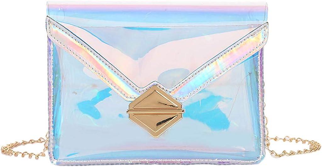 Darringls Borsa a Tracolla Borsa per Donna Borsa a Tracolla Grande olografica Borsa a Mano fluorescenza Rosso fluorescente rosa argento blu