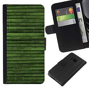 [Neutron-Star] Modelo colorido cuero de la carpeta del tirón del caso cubierta piel Holster Funda protecció Para HTC One M9 [Green Nature Bamboo Pattern]