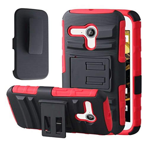 Motorola Moto G Case (XT1032), MPERO IMPACT XT Series Dual Layered Tough Durable Shock Absorbing Silicone Textured Reinforced Rubberized Polycarbonate Hybrid Belt Clip Kickstand Case for Moto G [Perfect Fit & Precise Port Cut Outs] - Red
