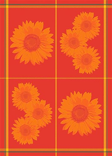 Mierco Fine European Linens 8RSunflower Red 100-Percent Cotton Tea Towel Design Table Topper, 20 by 28-Inch, Red Sunflower 8R-Sunflower Red